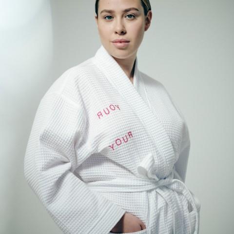 Белоснежный халат-кимоно из хлопка