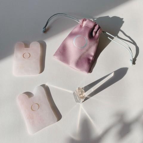 Гуаша из розового кварца квадрат 1 шт.