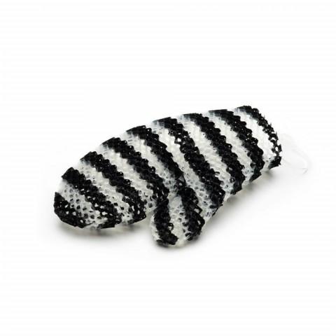 Массажная рукавичка для тела полосатая черная