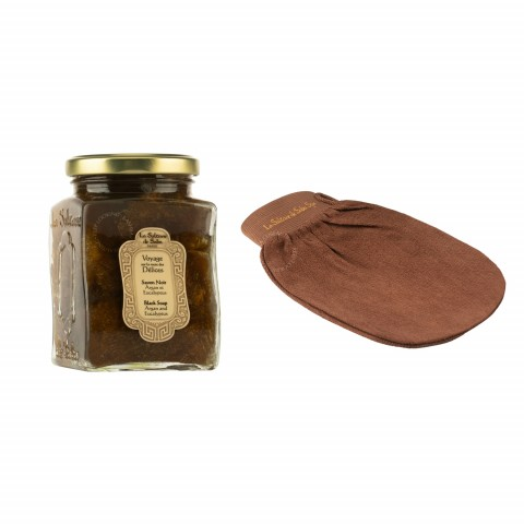 Черное мыло c эвкалиптом и арганом для лица и тела + рукавичка кесса